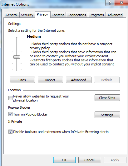 IE9Privacy settings